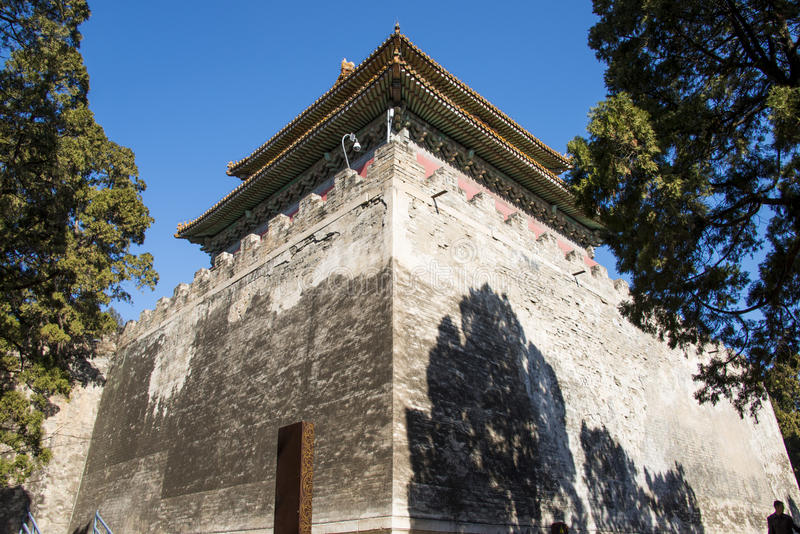 Asia Chinese, Beijing, Ming Dynasty Tombs scenic area, Dingling,Minglou. China Asia, Beijing, the Ming Dynasty Tombs scenic area, Chinese Wanli of the Ming stock photo