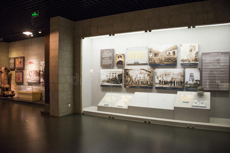 Asia Chinese, Beijing, museum, indoor Showcase. China and Asia, Beijing, Fire Museum, exhibition room, lobby, exhibition hall of ancient, modern exhibition hall stock images