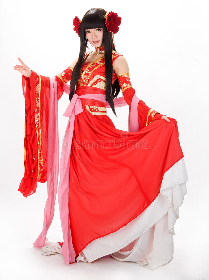 Free Asia Chinese Style Girl In Red Traditional Dress Dancer Stock Photos - 34992603