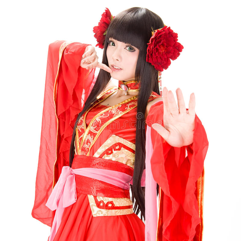 Free Asia Chinese Style Girl In Red Traditional Dress Dancer Stock Photo - 34992630