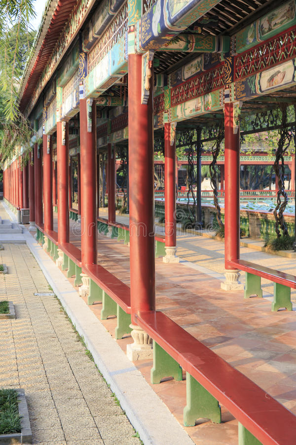 Chinese corridor. Asian Chinese traditional classic long corridor in oriental classical style in ancient garden, China Asia stock images