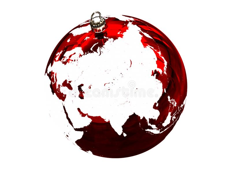 Asia on Christmas ball. Red Christmas ball with texture of Earths surface facing Asia. 3D illustration, isolated on white background vector illustration