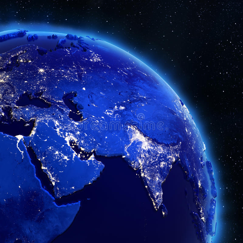 Asia city lights from space royalty free illustration