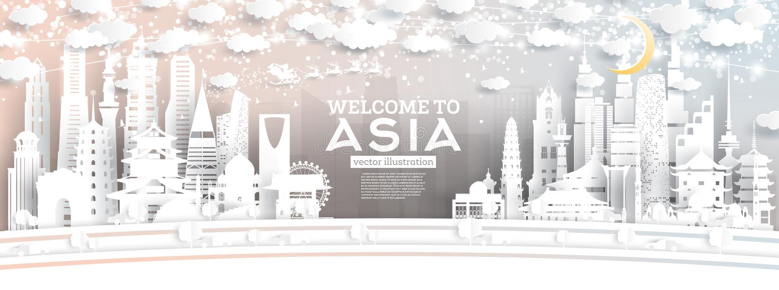 Asia City Skyline in Paper Cut Style with Snowflakes, Moon and Neon Garland royalty free illustration