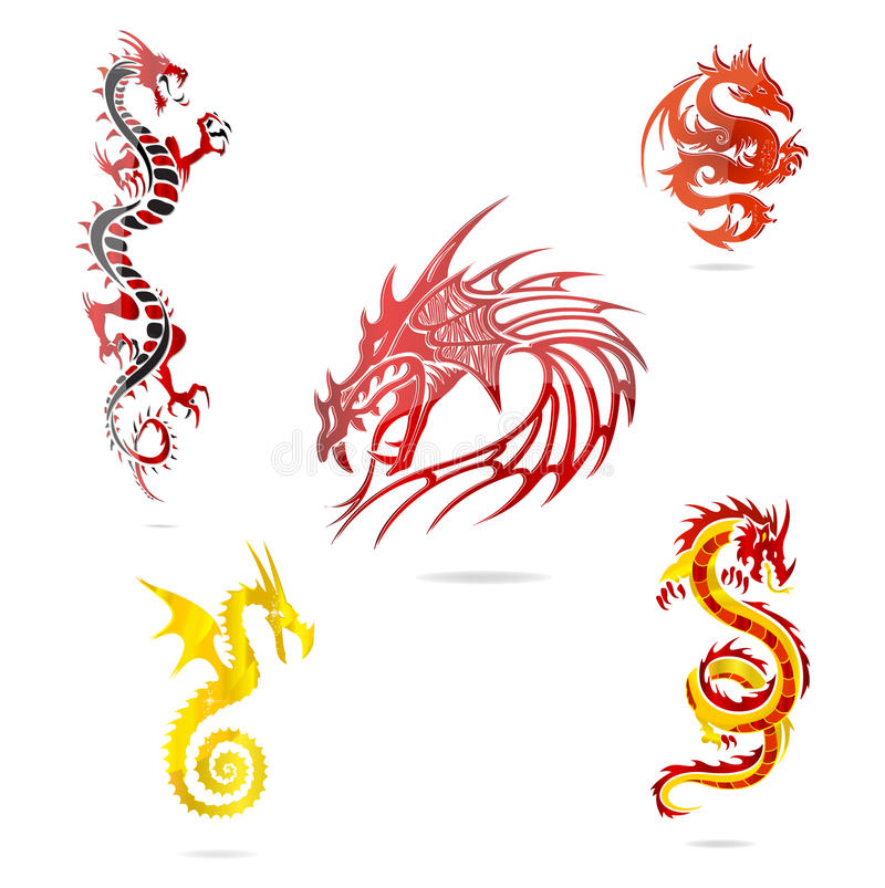 Asia Colored Dragons Sign Set Isolated Stock Images
