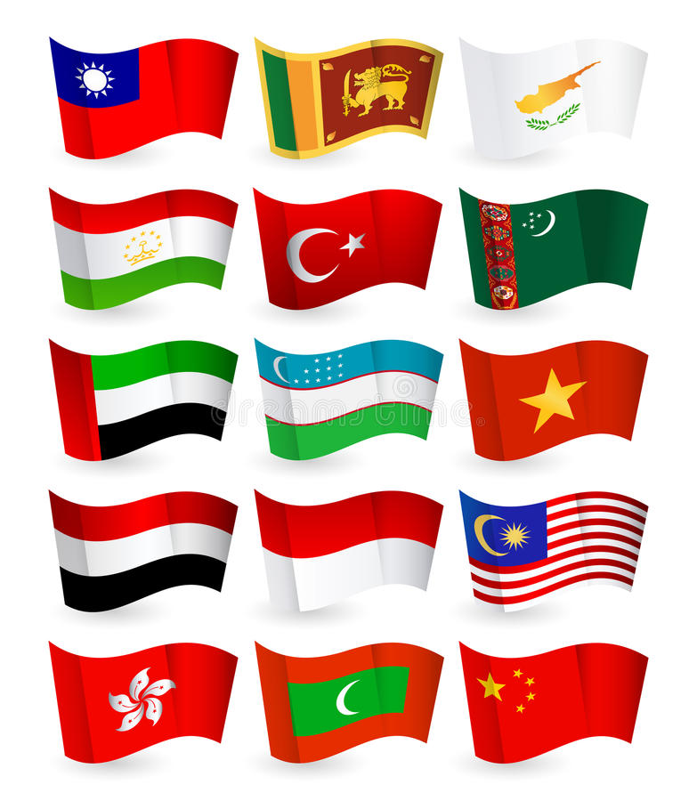 Free Asia Country Flying Flags Set Part 3 Royalty Free Stock Image - 65000426