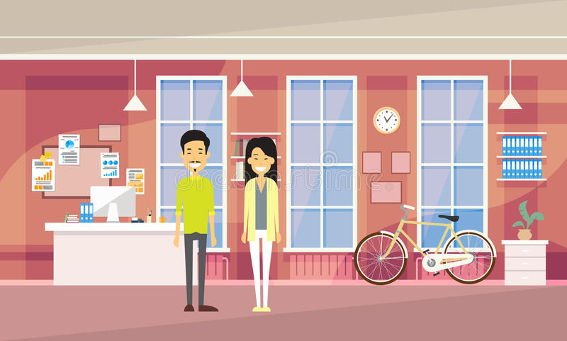 Asia Couple Asia Man Woman In Modern Office Co-working Center Students University Campus. Flat Vector Illustration vector illustration