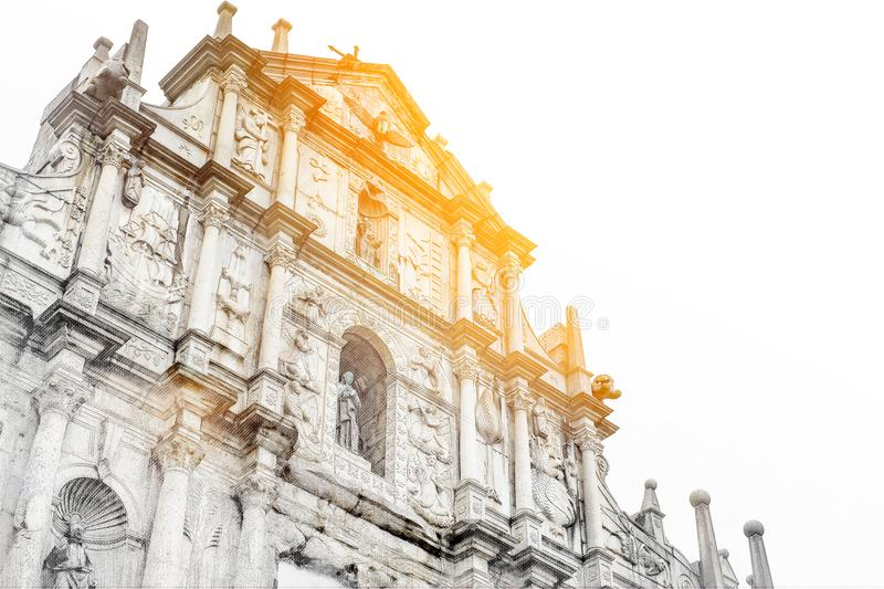 Looking up view of Ruins St.Paul Church mix hand drawn sketch illustration royalty free stock images