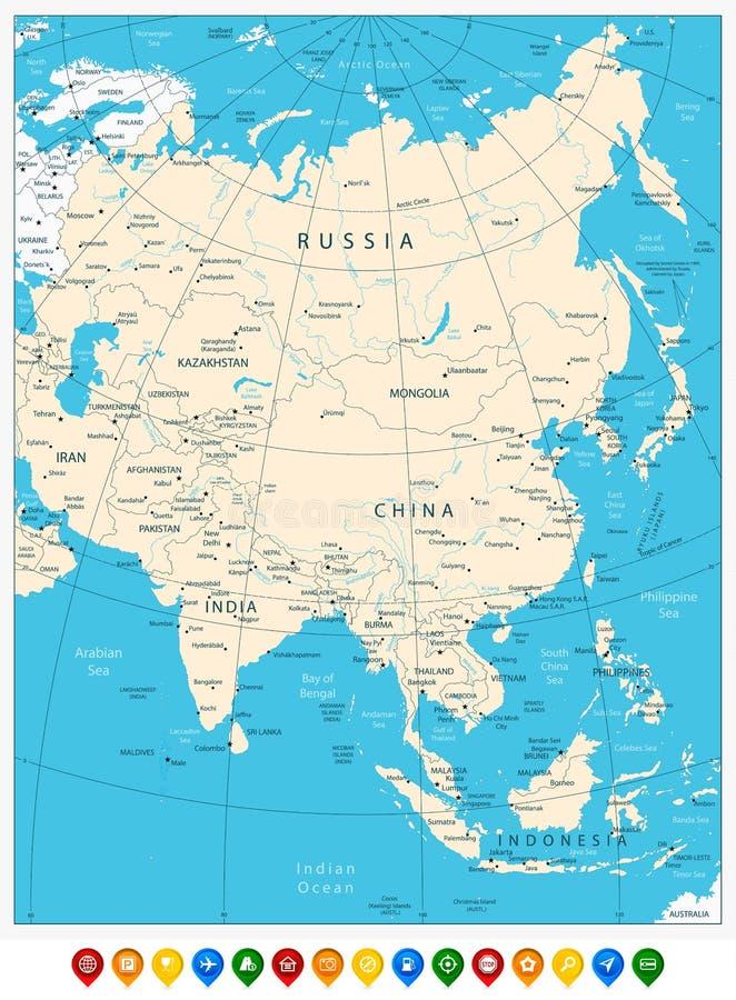 Asia detalló altamente el mapa e indicadores del mapa coloreado ilustración del vector