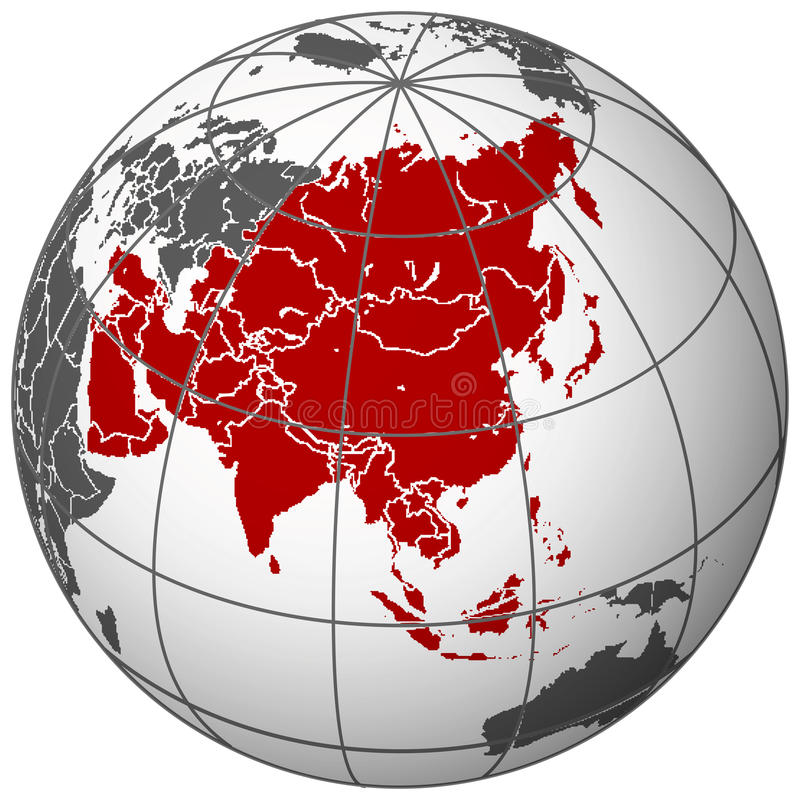 Download Asia on earth stock vector. Image of countries, light - 20546032