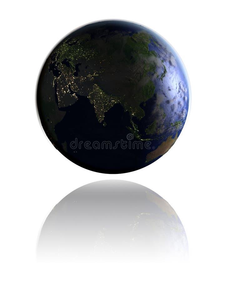 Asia en el globo en la noche libre illustration
