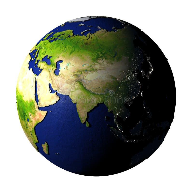 Asia en la tierra aislada en blanco ilustración del vector
