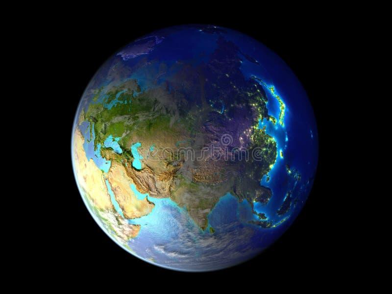Asia en la tierra del planeta del espacio iluminado por las luces de la ciudad ejemplo 3d aislado en el fondo blanco Elementos de libre illustration