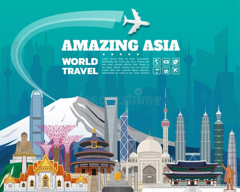 Asia famous Landmark paper art. Global Travel And Journey stock illustration