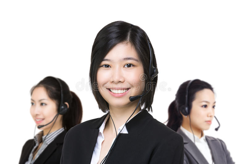 Asia female customer service. Isolated on white royalty free stock images