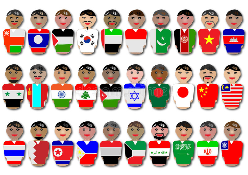 asia flaga ludzie zdjęcia stock
