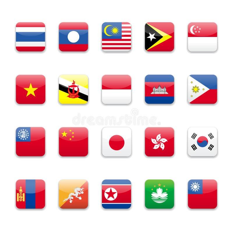 asia flagga vektor illustrationer