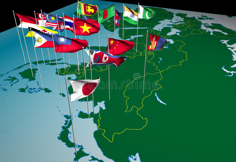 Asia Flags On Map Northeast View Stock Illustration Illustration