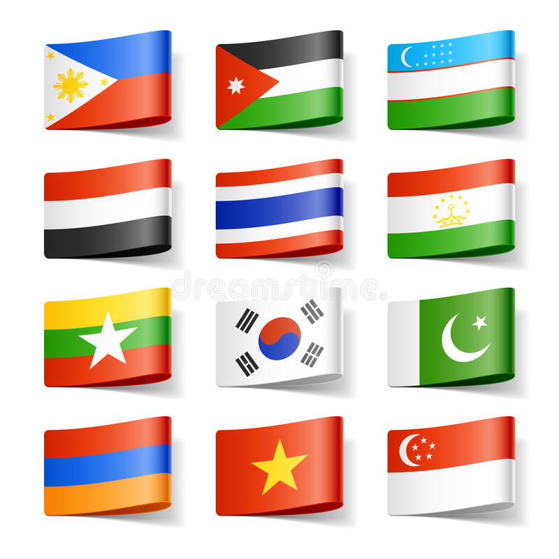 asia flags världen vektor illustrationer