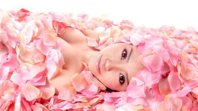 Asia girl in flower royalty free stock images