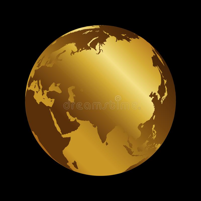 Asia golden 3d metal planet backdrop view . Russia, India and China world map vector illustration on black background stock illustration