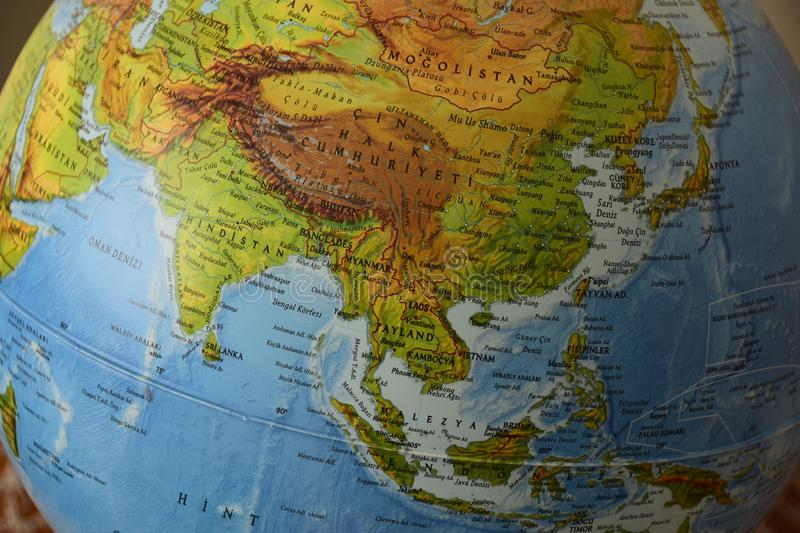 Asia - Highly detailed political map. Highly detailed political map of China with roads, railroads and water objects. All elements are separated in layers stock photography