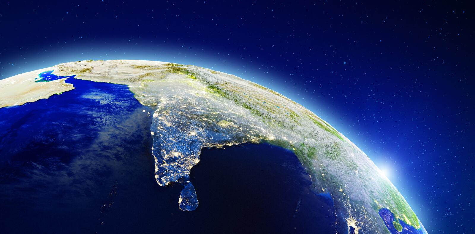 Asia - India and Sri Lanka. Elements of this image furnished by NASA. 3d rendering stock photography