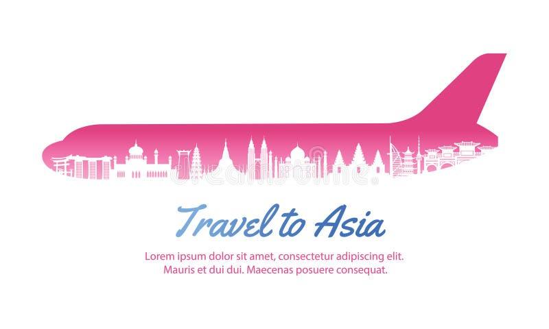 Asia landmark inside with plane shape,concept art silhouette st. Yle,vector illustration,pink gradient,vector illustration stock illustration