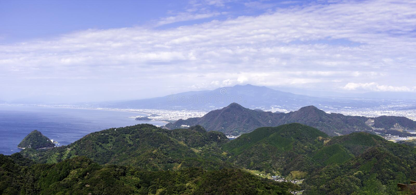 Lookout mountain and skyline and sea in Japan royalty free stock images