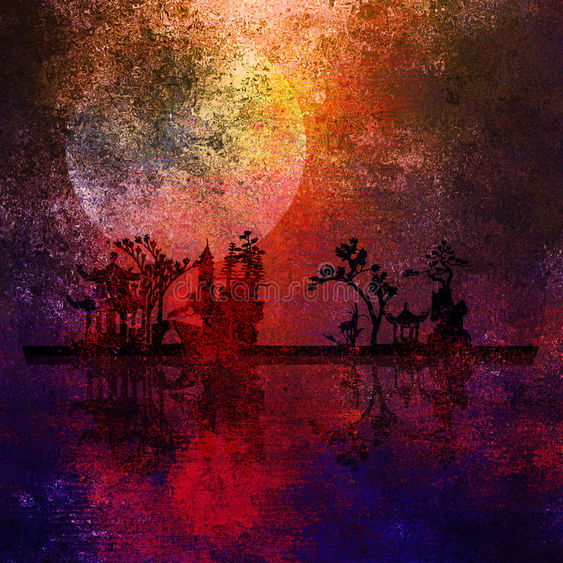 asia liggande målning royaltyfri illustrationer