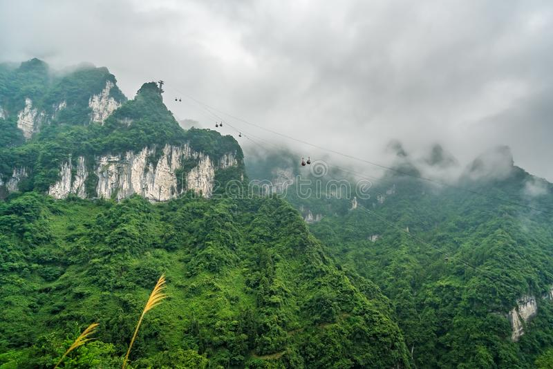 Cable car going to the top of Tianmen mountain stock images