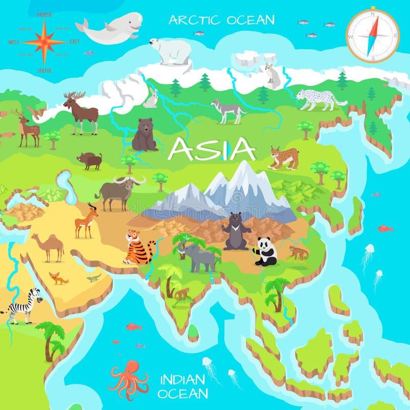 Asia Mainland Cartoon Map with Fauna Species. Cute asian animals flat vector. Northern predators. Mountain species. Jungle wildlife. Indian ocean life. Nature royalty free illustration