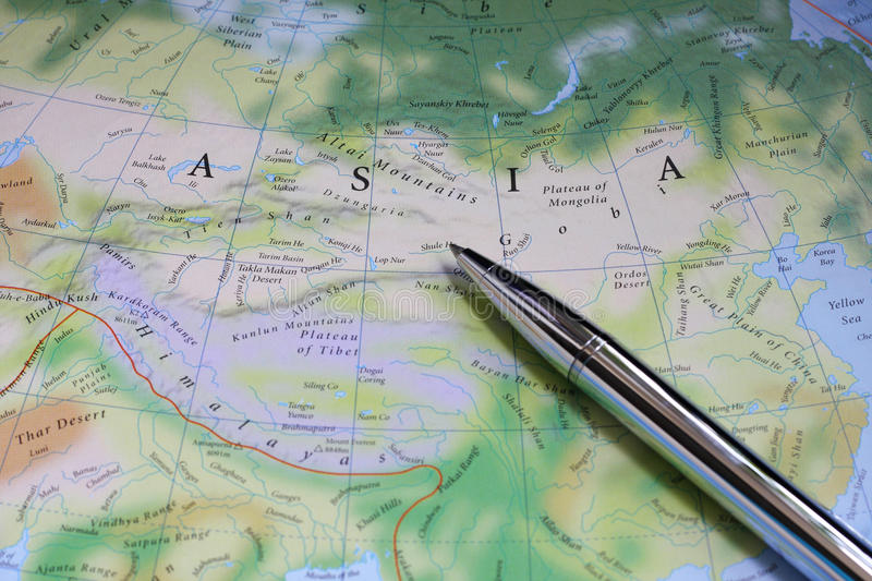 Asia map. Silver pen on the Asia map royalty free stock images