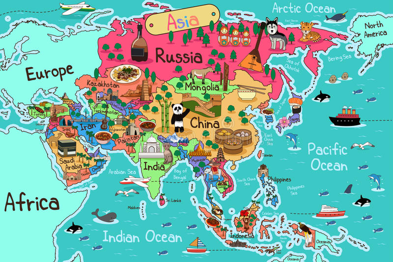 Asia Map. A vector illustration of Asia map in cartoon style stock illustration