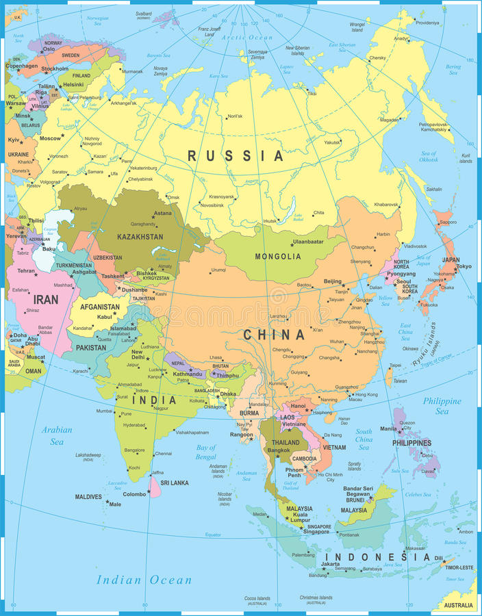 asia map detailed vector illustration