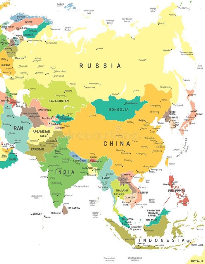 Asia - mapa - ejemplo stock de ilustración