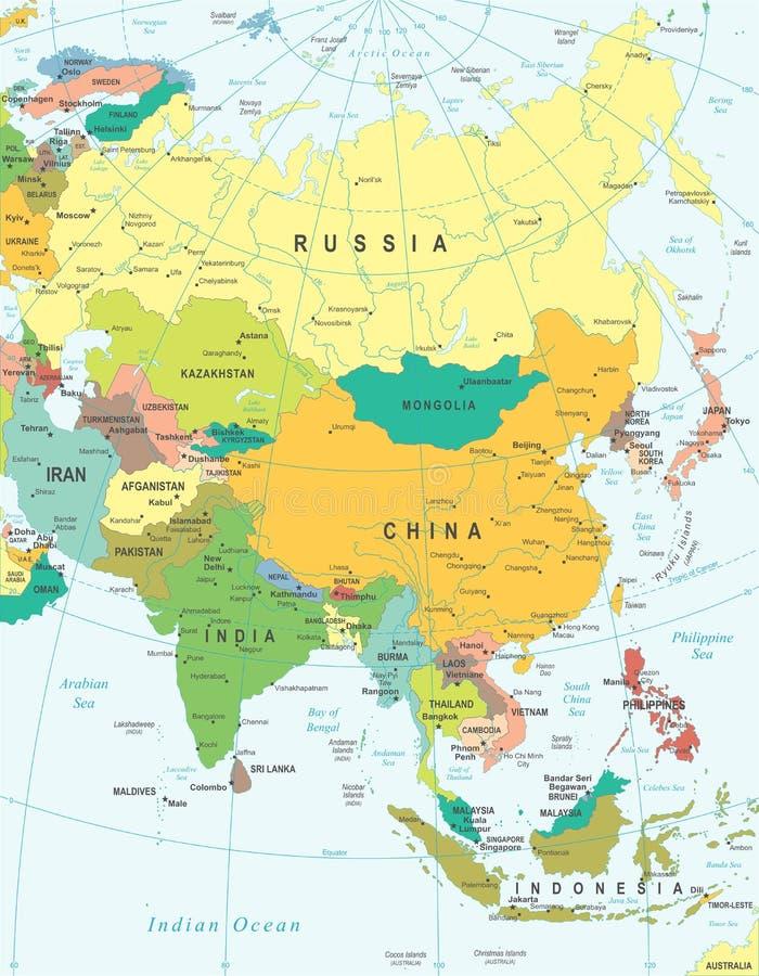 Asia - mapa - ejemplo Coloreado y rejilla ilustración del vector