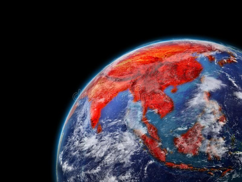 Asia on model of planet Earth with very detailed planet surface and clouds. Continent highlighted in red. 3D illustration. Elements of this image furnished by vector illustration