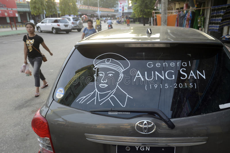 ASIA MYANMAR MYEIK AUNG SAN. A sighn of General Aung San ta a car in the city of Myeik in the south in Myanmar in Southeastasia royalty free stock photography