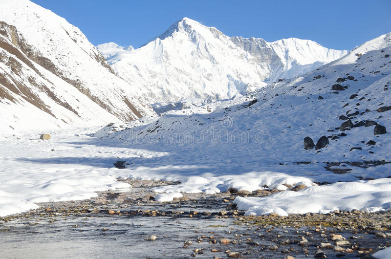 Asia, Nepal, the Himalayas, the view of the peak Cho Oyu, 8210 meters above sea level. Gokio lake ahd villlage Gokio. Nepal, the Himalayas, the view of the peak stock photo