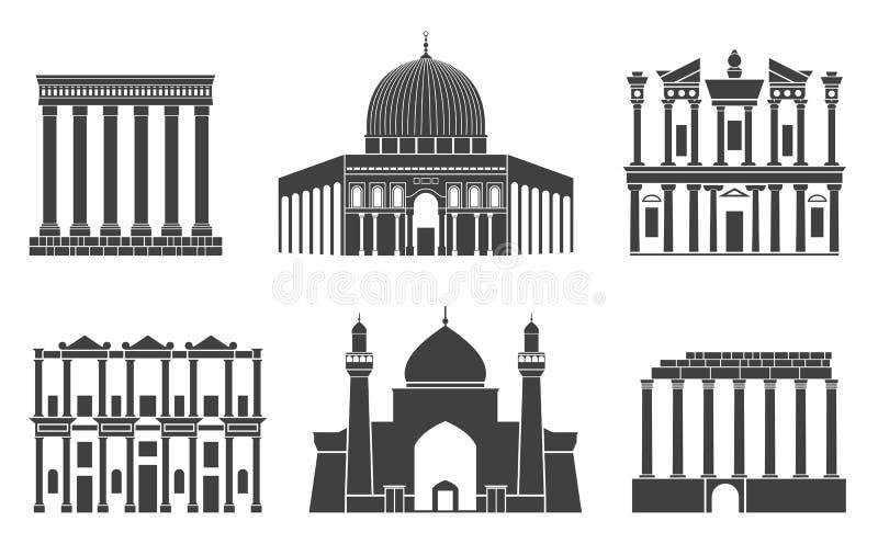 Asia occidental Edificios asiáticos aislados en el fondo blanco stock de ilustración