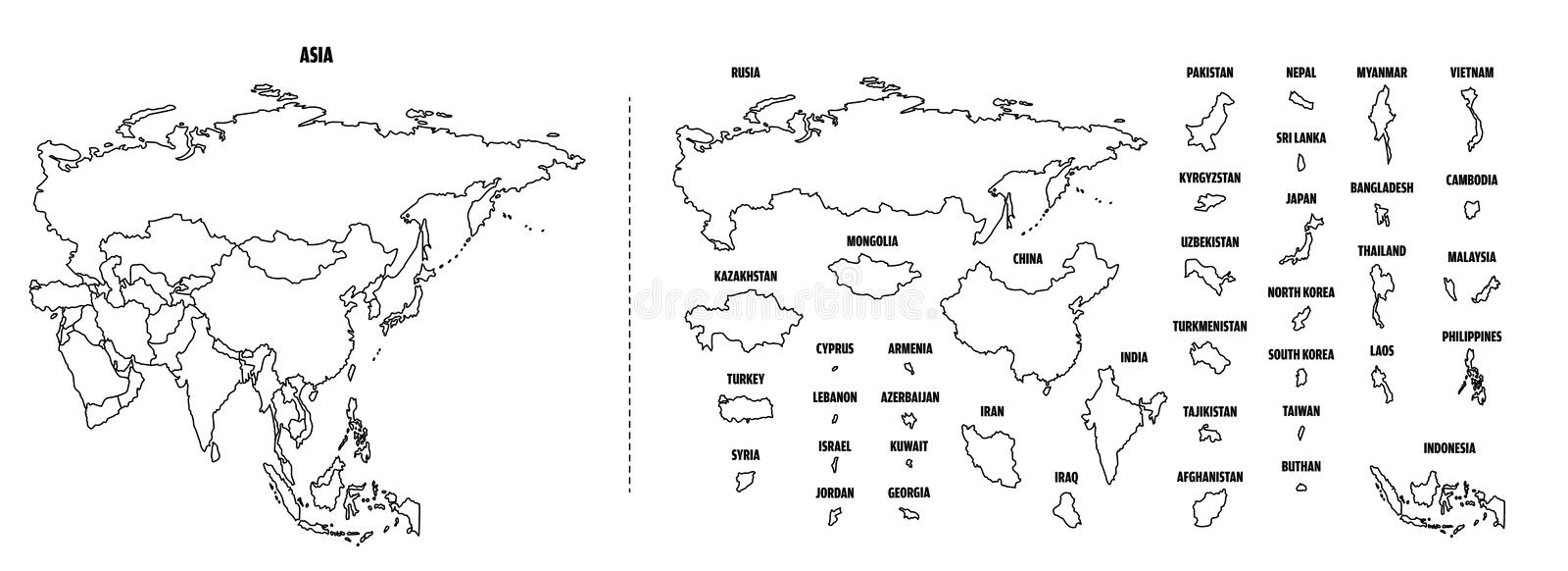 Asia outline map with each country stock illustration