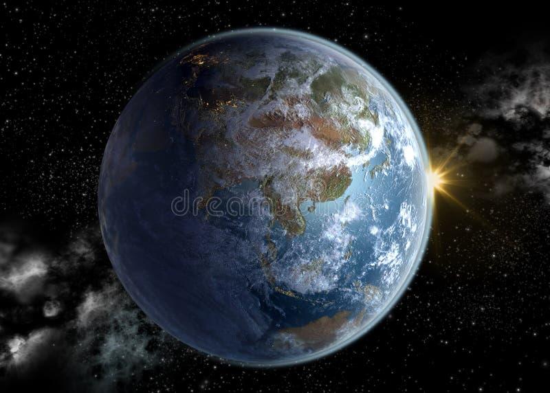 Asia Pacific e China no nascer do sol imagens de stock royalty free
