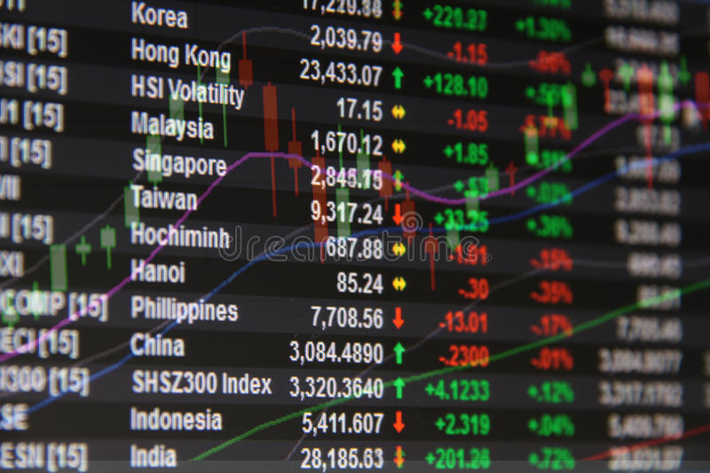 Asia Pacific stock market data and candle stick graph chart on monitor. Business or finance concept : Asia Pacific stock market data and candle stick graph chart stock photography
