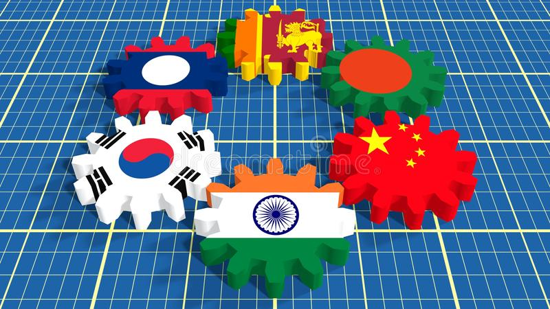 Asia Pacific Trade Agreement Members Flags On Gears Stock Image