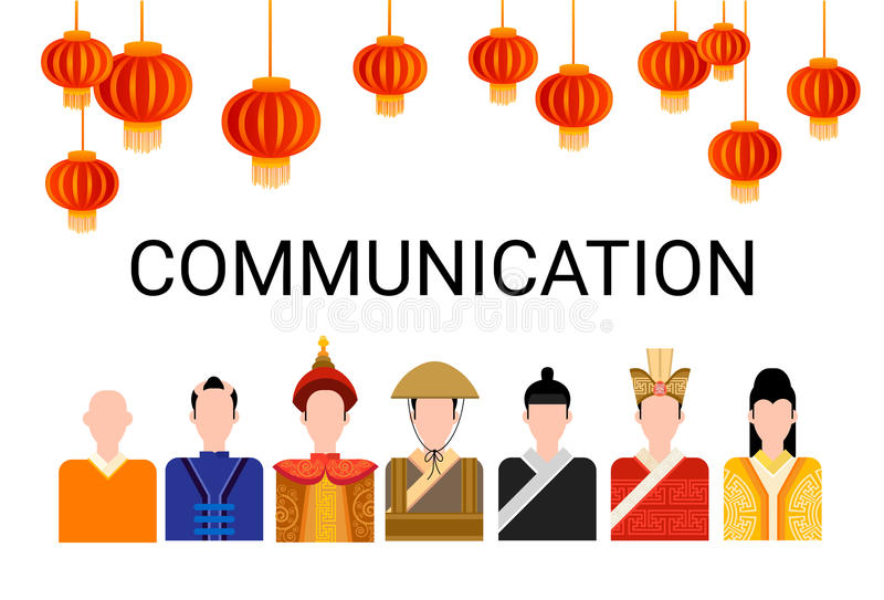 Asia People Group Chat Bubble Communication Concept, Asian Talking Chinese Man Social Network. Flat Vector Illustration vector illustration