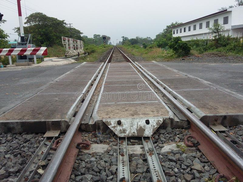 Asia railroad track for train. Railway track on granite support royalty free stock images