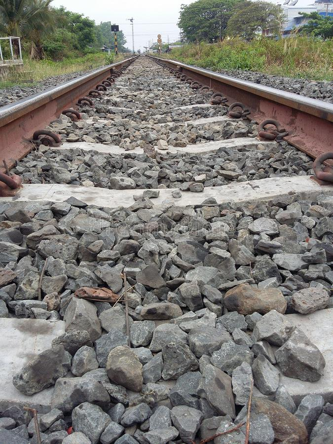 Asia railroad track for train. Railway track on granite support stock photography
