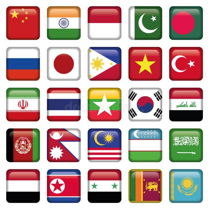 Asia señala iconos por medio de una bandera cuadrados libre illustration