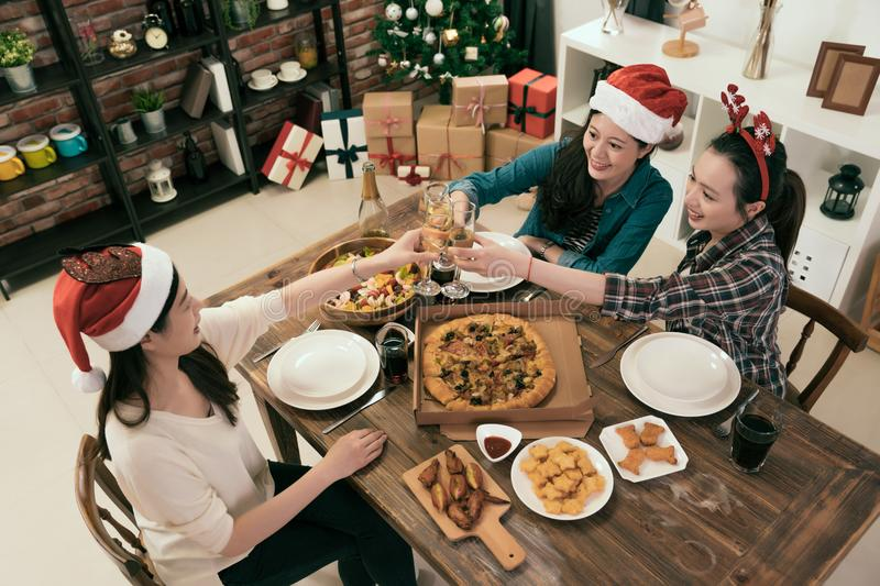 Asia sisters friends celebrating Christmas or New Year stock images